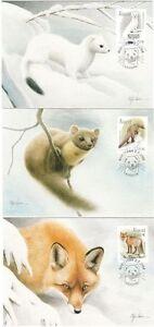 Aland Endangered Winter Animals Ermine Red Fox Marten Aland Maxi FDC Cards 2004