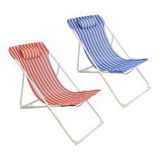 Metal Garden Deckchair Folding Adjustable Reclining, Red / Blue Stripe - x2