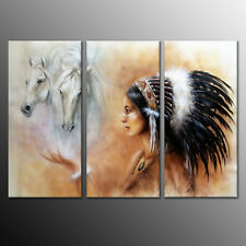 Canvas Print Painting Picture Indian Women Feather Horse Home Decor 3pc-No Frame