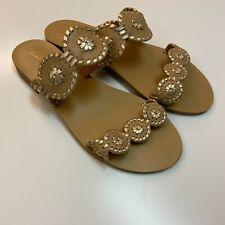 Jack Rogers Women's Lauren Whipstitch Detail Tan Leather Slide Sandals Sz 7.5
