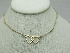 """Vintage Double Heart Choker Necklace, 10kt G.F., 13.5"""", Gold Tone, 1960's-1970's"""