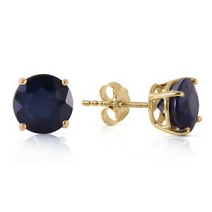 3.3 Ct 14k Solid Yellow Gold Once Upon A Love Sapphire Earrings