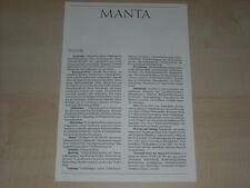 65838) Opel Manta B - technische Daten & Ausstattungen - Prospekt 09/1987