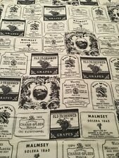 """Wine Labels on White - Flannel Fabric  - 44"""" Wide BTY"""