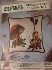 Vintage Crewel Kit Mushroom Pillow from Minuet 1973  in Open Package