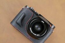 VR Handmade Genuine Leather Camera Half Case for Leica Q2 Black Red Stitching