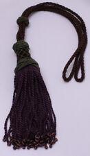 Drapery Tieback Brown Braided Curtain Tie Back with Purple Tassels Beads M423.06