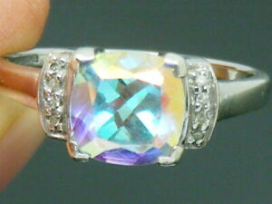 9ct Gold Ice Topaz & Diamond Art Deco design ring size Q