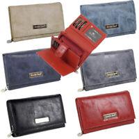 Damen Geldbörse groß schwarz Portemonnaie viele Kreditkartenfächer - in 6 Farben