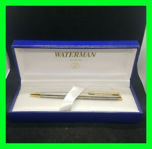 Waterman Hemisphere Stainless Steel Ballpoint Pen with 23K Gold Accents