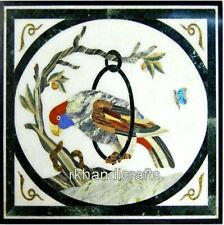 15 Inches Marble Coffee Table Top Inlay with Bird Design Corner Table Home Decor