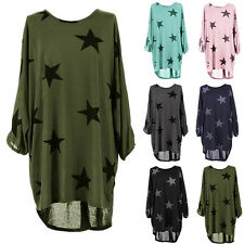 Plus Size Women Lagenlook Batwing Star Print Summer Baggy Tunic Top Shirt Blouse