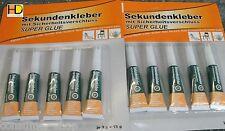 10 Tuben x a 3g Super Glue Sekundenkleber Spezialkleber EXTRA STARK *