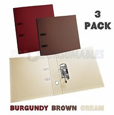 3 Pack - Burgundy/Brown/Cream A4 Lever Arch Files. 70mm, PVC Covered In & Out.