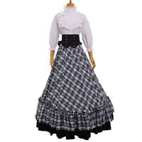 Retro Victorian Civil War Plaid Dress Reenactment Theater Corset Costume