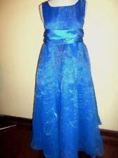 Vintage evening DRESS size XS blue chiffon & satin 8 10 maxi 1950s 1960s big bow