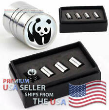 Panda Logo Valve Stem Caps Chrome Tires Kit Emblems Wheels Bear Animal Cute USA