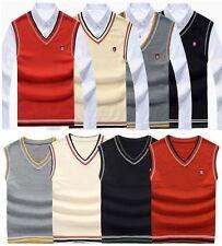 New Mens Knitted Vest Jumper Golf Sweater Sleeveless V Neck Tank Top