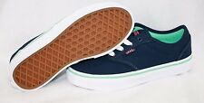 Girls Kids Youth Vans Atwood Low Canvas Navy Blue Mint Green Sneakers Shoes