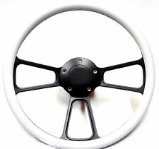 White on Powder-Coated Black Billet Steering Wheel & Horn Ford Chevy Dodge More