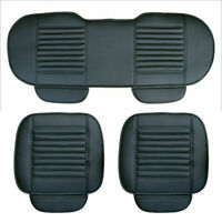 Black Car Seat Cover Breathable PU Leather Pad Chair Cushion Front + Rear Covers