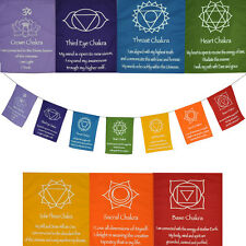 Special OFFER -AFFIRMATION Medium CHAKRA Prayer Flags Wall Hanging new age reiki