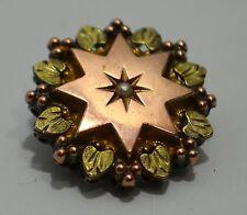 BROCHE fino XIX troquelado plata estrella oro rosa oro amarillo & pequeño perla