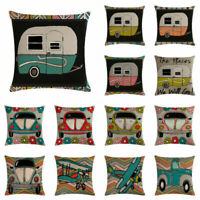 Square Cartoon Car Cotton Linen Pillow Case Sofa Cushion Cover Home Decor 18''