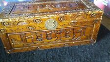 1900 Antique Chinese Camphor Wood Hand Carved Chest Box