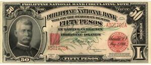 Philippines U.S. Administration 50 Pesos Currency Banknote 1920 AU/UNC