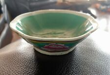 Antique China Hand-Painted Flowers Green Bowl