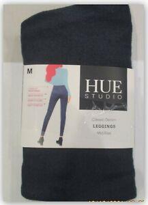 Hue Studio Women's Mid-Rise Classic Knit Denim Jean Leggings Dark Denim M 8-10