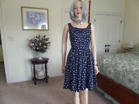 Moulinette Souers By Anthropology Navy Blue Polka Dots Fit & Flare Sheath Dress4