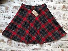 "Vintage 1980s Red Tartan Skirt -SIZE 6- Waist 24"" Plaid Skirt Retro Grunge Chic"