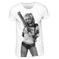 Official Harley Quinn Bat Swing T-shirt Photo Sublimation White S M L XL
