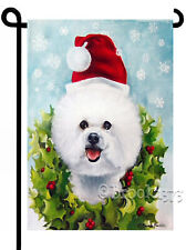 Bichon Christmas Garden Flag outdoor Holiday decorative yard Art dog Snowflakes