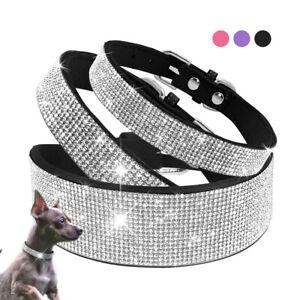 Rhinestone Dog Collar Bling Crystal Puppy Necklace Soft Suede Adjustable Yorkie
