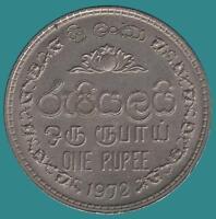 1972 SRI LANKA CEYLON ONE RUPEE COIN - VERY NICE aUNC Condition