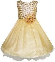 Robe Fille Fleur Briller Champagne Tulle Mariage Reconstitution Historique