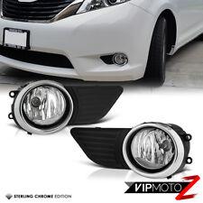 2011-2016 Toyota Sienna Clear Fog Lights Bumper Lamps Set W/Switch+Wiring Kit