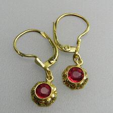 Sehr schöne 585er Ohrringe mit Rubin farbenen Spinell um ca. 1940 - B3314!
