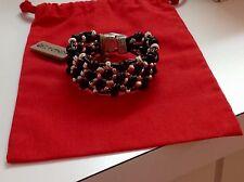 "Nwt Uno de 50 Silvertone Beads/Leather Bracelet ""Seedbed"" 6.5"" $145"