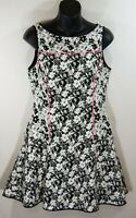 Banana Republic White Black Pink Floral Sleeveless Fit Flare Dress 8P Petite