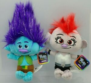 Lot of 2 Trolls World Tour Plush Branch & Barb Toys DreamWorks NEW WITH TAGS