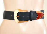 CEINTURE NOIRE femme Boucle OR ROSE corset dos élastique cuir écologique G42