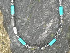 Silver Magnetic Hematite Men Woman Bracelet Anklet Necklace 4x13 Chalk Turquoise