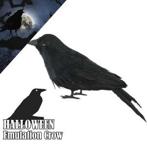 Halloween Stuffed Feather Crow Bird Black Ravens Fancy Prop Decor Dress Q8U1
