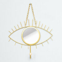 Hanging Wall Mirror Decor, Gold Eye Shape Mirrors for Home Bathroom Bedroom