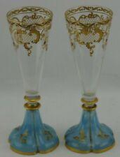 Stunning Set of 2 Moser Champagne Flutes Quatrefoil Blue Bottom Gold Decorated