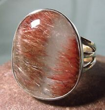 Sterling silver chunky golden RUTILATED QUARTZ ring UK S-S½/US 9.5